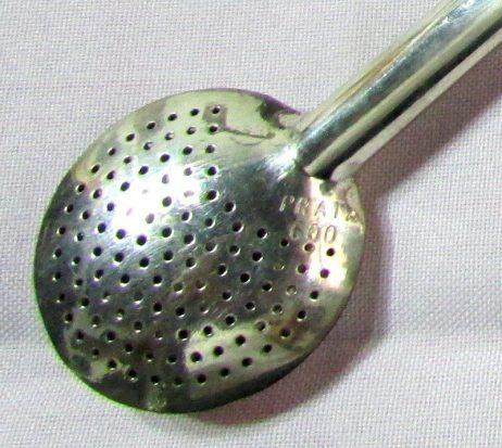 Bombilla de plata y oro detalle paleta
